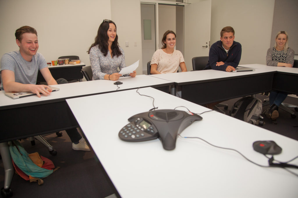 Students in Professor Geoffrey Cowan's JOUR 209 class have a conference call with the team from AXIOS on April 26, 2017. © USC Annenberg/Brett Van Ort